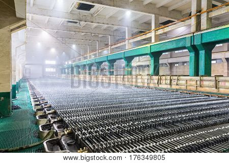 zinc electrowinning workshop closeup in lead and zinc smelting factory