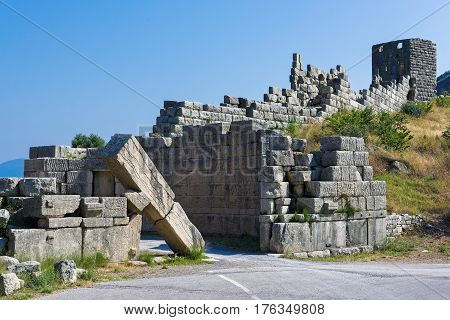 The famous Arcadian Gate in the archaeological site of ancient Messene in Peloponnese, Greece