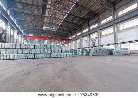 industrial finished products warehouse in a lead and zinc metal factory
