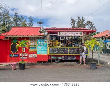 KAUAI, USA - MAR 4: Aloha Juice Bar on March 4, 2017 on Kauai, Hawaii. Hanalei is one of the most popular tourist areas on the island of Kauai and is on the north shore.