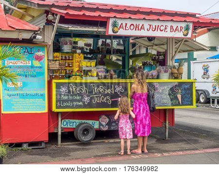 KAUAI, USA - MAR 4: Aloha Juice Bar on March 4, 2017 on Kauai, Hawaii. Hanalei is one of the most popular tourist areas on the island of Kauai and is on the north shore.