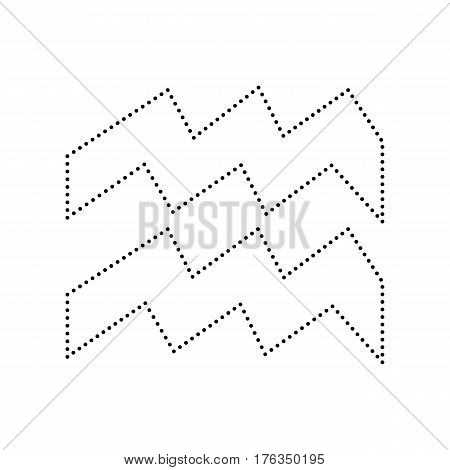 Aquarius sign illustration. Vector. Black dotted icon on white background. Isolated.