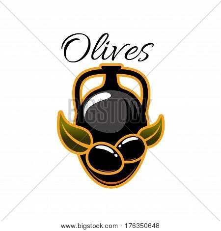 Black olives and olive oil in pitcher or jug. Vector icon of black olive-tree branch on jar or emblem for salad dressing ingredient or culinary cooking seasoning product and condiment bottle label tag