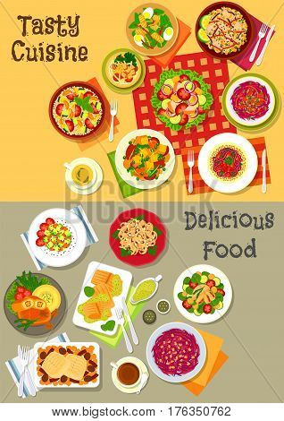 Fresh salad dinner dishes icon set of vegetable salads with cheese, mushroom, beet, cabbage, chicken, bacon and tofu, fruit salad, fish salad with olive, avocado and egg, baked cod and fried rice