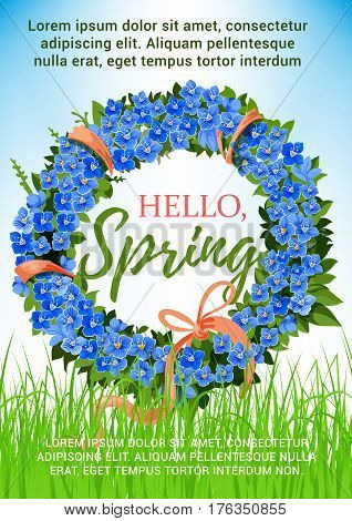 Hello Spring blue crocus flowers wreath design. Floral bow and pink springtime ribbon on green springtime meadow. Vector design of floral bunch bouquet for spring holiday greeting card or poster