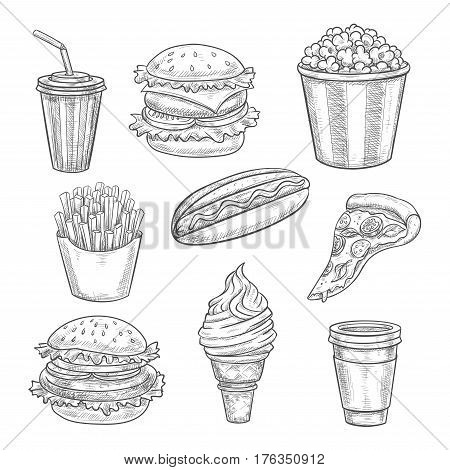 Fast food sketch. Isolated vector cheeseburger or hamburger sandwich, coffee and soda drink in cup, popcorn bucket, hot dog sandwich, pizza slice and french fries with ice cream wafer cone