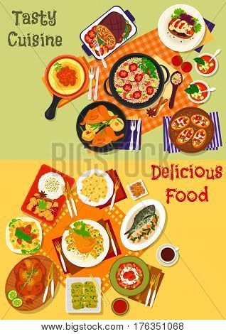 World cuisine popular dinner dishes icon set with italian pasta and pepper bruschetta, spanish tomato soup, seafood rice and vegetable salad, fried chicken, japanese vegetable and beef stew