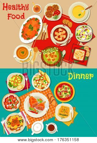 Fresh salad, soup and meat dishes icon of salads with vegetable, seafood, avocado and mushroom, baked chicken, pork and lamb, soup with pea, rice, beet, zucchini, spinach lasagna, pumpkin pancake