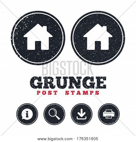 Grunge post stamps. Home sign icon. Main page button. Navigation symbol. Information, download and printer signs. Aged texture web buttons. Vector