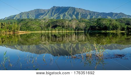 Wailua reservoir with the Makaleha Mountains in the background.