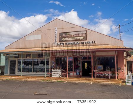 KAUAI, USA - MAR 7:  Business in Waimea Town on March 7, 2017 in Kauai, Hawaii. This historic seaport can be found close to where British discoverer Captain James Cook first landed in Hawaii in 1778.