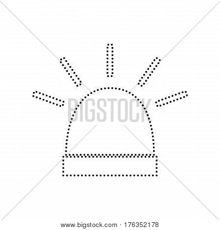 Police single sign. Vector. Black dotted icon on white background. Isolated.