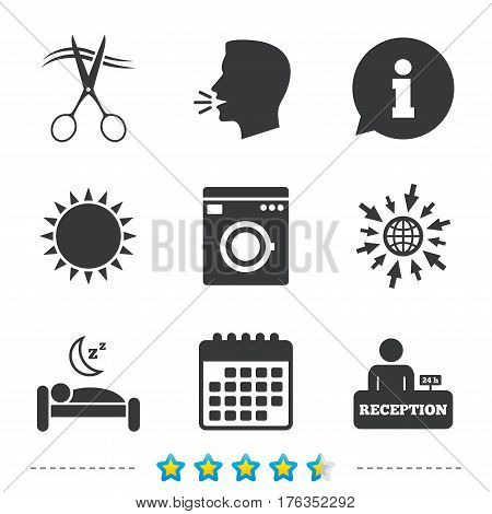 Hotel services icons. Washing machine or laundry sign. Hairdresser or barbershop symbol. Reception registration table. Quiet sleep. Information, go to web and calendar icons. Sun and loud speak symbol
