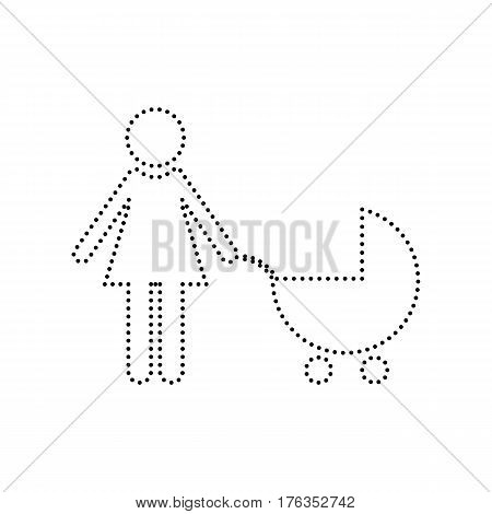 Family sign illustration. Vector. Black dotted icon on white background. Isolated.