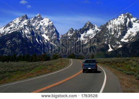 Road To The Tetons With Truck