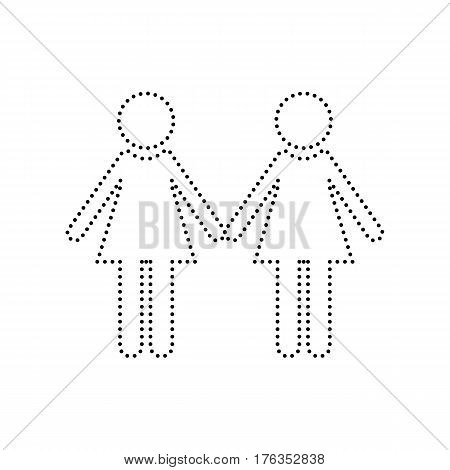 Lesbian family sign. Vector. Black dotted icon on white background. Isolated.