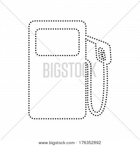 Gas pump sign. Vector. Black dotted icon on white background. Isolated.