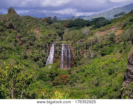 Opaekaa Falls waterfall in Kauai Hawaii USA