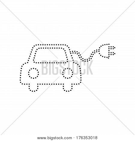 Eco electric car sign. Vector. Black dotted icon on white background. Isolated.