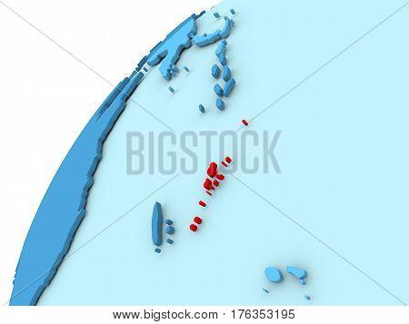 Vanuatu In Red On Blue Globe