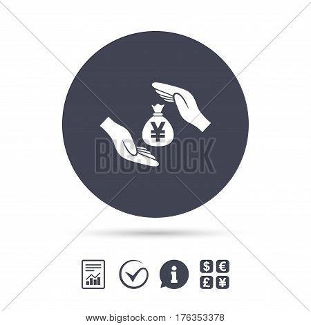 Protection money bag sign icon. Hands protect cash in Yen symbol. Money or savings insurance. Report document, information and check tick icons. Currency exchange. Vector