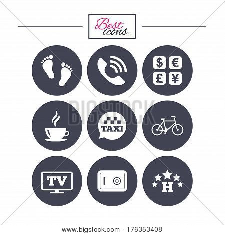 Hotel, apartment services icons. Coffee sign. Phone call, kid-friendly and safe strongbox symbols. Classic simple flat icons. Vector