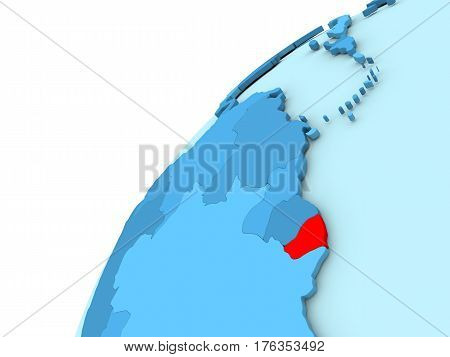 French Guiana In Red On Blue Globe