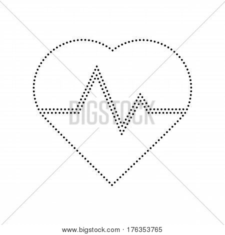 Heartbeat sign illustration. Vector. Black dotted icon on white background. Isolated.