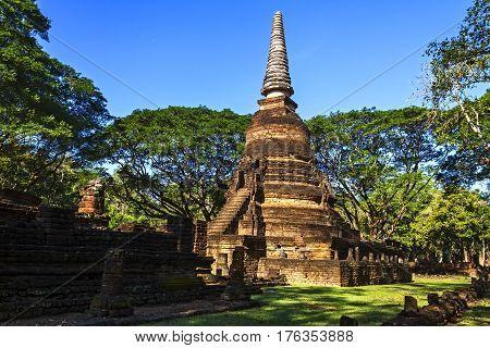 Wat Nang Phaya temple and old pagoda in Sisatchanalai Historical Park Sukhothai province Thailand