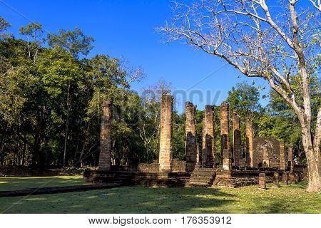 Wat Nang Phaya temple and blue sky in Sisatchanalai Historical Park Sukhothai province Thailand
