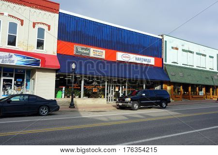 MANCELONA, MICHIGAN / UNITED STATES - NOVEMBER 27, 2016: One may purchase hardware, tools and appliances at the Mancelona True Value Hardware store in downtown Mancelona.