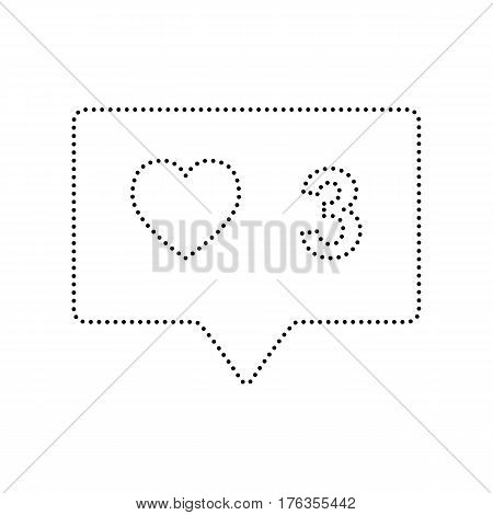 Like and comment sign. Vector. Black dotted icon on white background. Isolated.