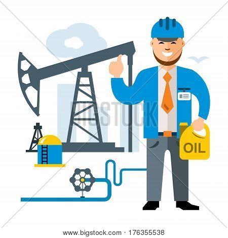 Manager with canister oil. Isolated on a white background