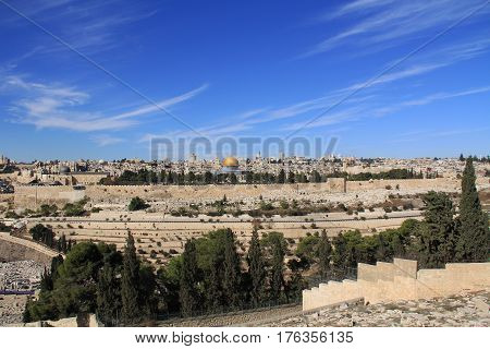 Temple Mount, Dome of the Rock, Al-Aqsa Mosque and Golden Gate as seen from the Mount of Olives in Israel.