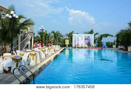 Swimming Pool At Luxury Hotel In Southern Vietnam
