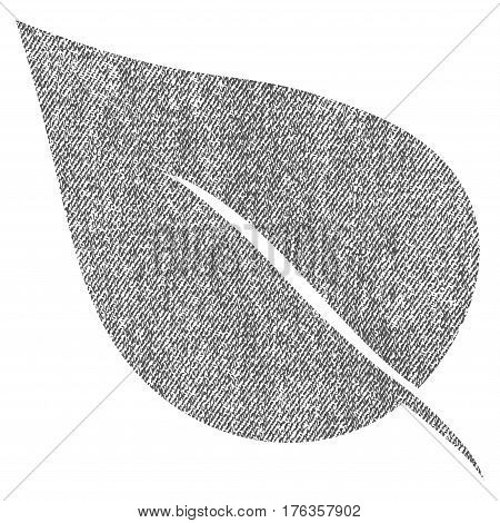 Plant Leaf vector textured icon for overlay watermark stamps. Fabric gray vectorized texture. Symbol with unclean design. Rubber seal stamp with fiber textile structure.