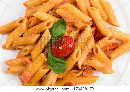 Close up on Penne Ala Vodka served on a white dinner plate