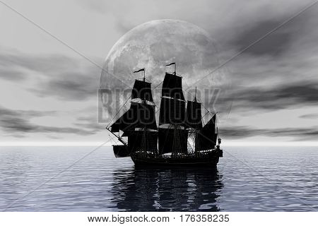 Medusa pirate ship under the moon. 3D illustration
