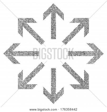 Radial Arrows vector textured icon for overlay watermark stamps. Fabric gray vectorized texture. Symbol with dirty design. Rubber seal stamp with fiber textile structure.