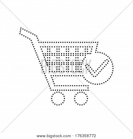Shopping Cart with Check Mark sign. Vector. Black dotted icon on white background. Isolated.
