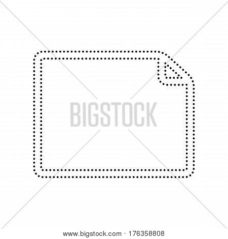 Horisontal document sign illustration. Vector. Black dotted icon on white background. Isolated.