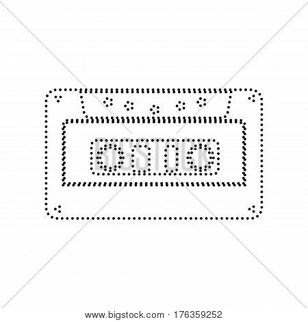 Cassette icon, audio tape sign. Vector. Black dotted icon on white background. Isolated.