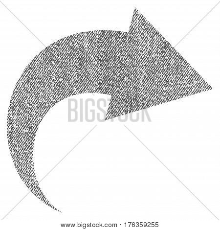 Redo vector textured icon for overlay watermark stamps. Fabric gray vectorized texture. Symbol with dust design. Rubber seal stamp with fiber textile structure.