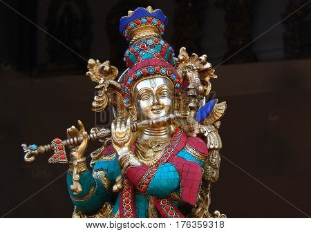 HYDERABAD,INDIA-MARCH 3:Hindu God Sri Krisna metal art work display in Shilparamam on March 3,2017 in Hyderabad,India