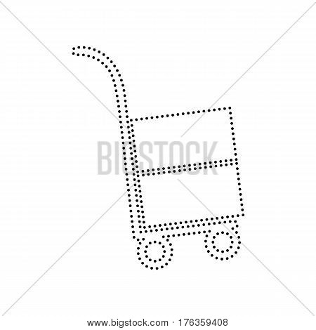 Hand truck sign. Vector. Black dotted icon on white background. Isolated.