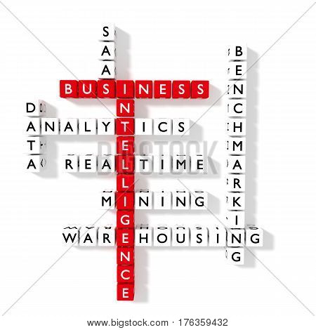 Crossword puzzle showing business intelligence keywords as dice on a white board bi concept flat design3D illustration
