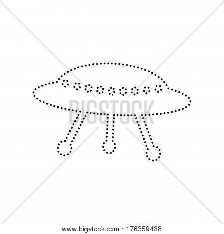 UFO simple sign. Vector. Black dotted icon on white background. Isolated.