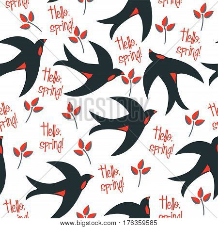 Vector seamless pattern with swallows and says