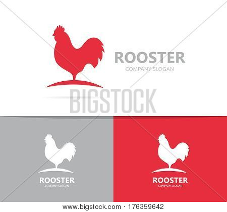 Vector of red rooster logo combination. Cock and chicken symbol or icon. Unique bird and cockerel logotype design template.