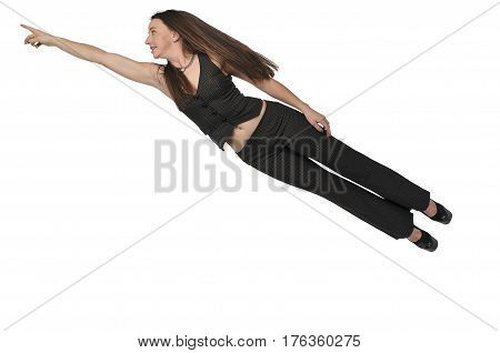 Woman Flying Through The Sky